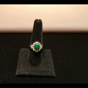 Huitan Jewelry - 925 Silver Rings Oval Cut Emerald  Ring Size 9